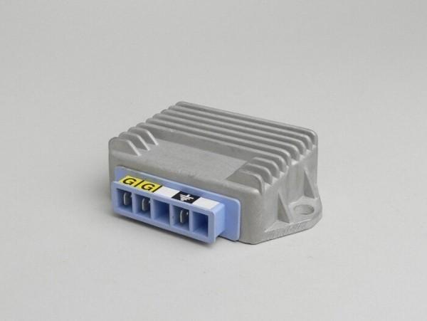 Regulador de tensión -3-clavijas 12V (G|G|Terra)- Vespa PX (a partir del año 1984), T5 125cc, PK XL, V50 (sistema cuadruple intermitente), Lambretta (encendido electrónico) - 96W