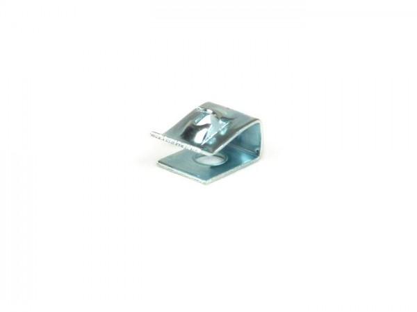 Blechmutter -NORMFEST- Ø=2,9mm - 8x12mm (verwendet für Kaskadenschriftzug Vespa PX bis 1984, PX alt)