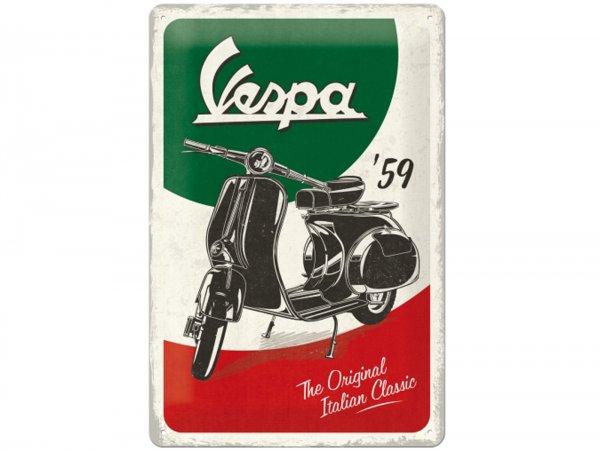 "Advertising sign -Nostalgic Art- Vespa, ""The Italian Classic"", 20x30cm"