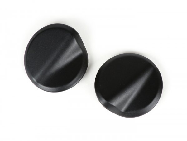 Abdeckkappen-Set Spiegellöcher -BGM PRO- Vespa GTS 125-300 (ZAPMA3100, ZAPMA3200, ZAPMA3300) GTS HPE, Supertech (ZAPMA3600) - schwarz matt (099/c)