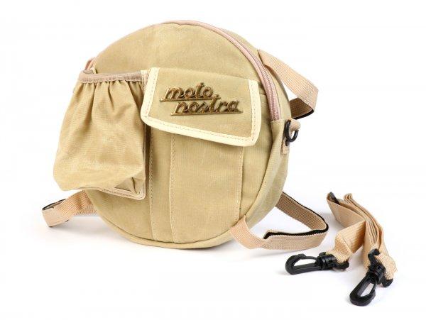 """Bolsa para el soporte de la rueda de repuesto (incl. portavasos) -MOTO NOSTRA Clásico """"algodón encerado"""" - adecuado para, por ejemplo, Vespa, Lambretta - beige"""