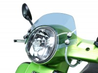 Flyscreen with chromed brackets -MOTO NOSTRA, w=340mm, h=105mm- Vespa GT, GTL, GTS, GTS Super 125-300cc -