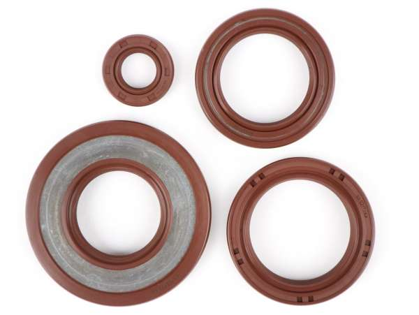 Oil seal set engine -BGM PRO, FKM/Viton® (E10/etahnol resistant)- Vespa Smallframe 24mm - PK125 XL2, PK125 ETS