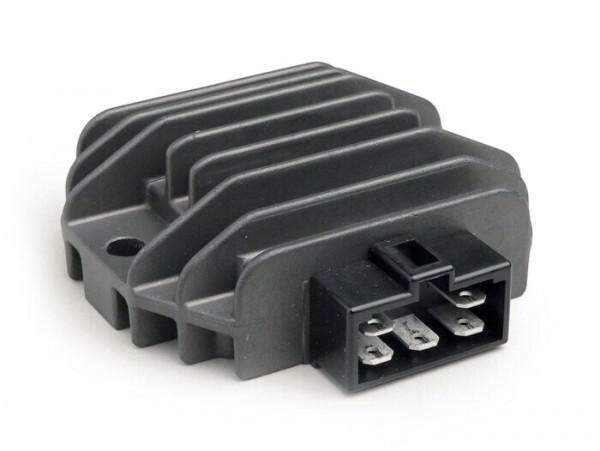 Regulador de tensión -5-clavijas 12V con relé de intermitente- Vespa ET4 (ZAPM19), LX125-150, LXV125-150, S125-150, Primavera125-150, Sprint125-150, GT125-300, GTS125-300, GTV125-300, GTL125-200, Piaggio 50 ccm Purejet 2 tiempos (motor de inyección),