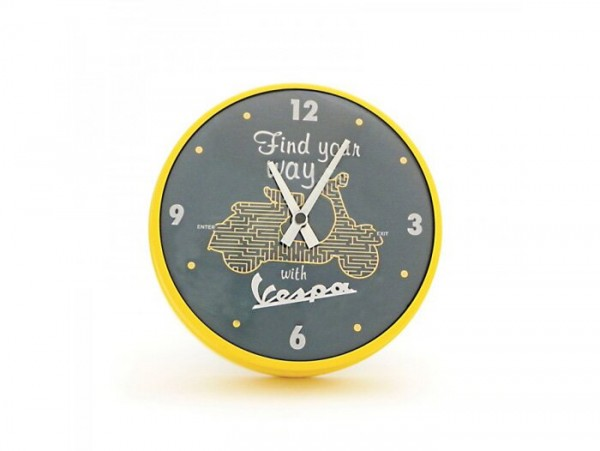 "Reloj redondo de pared -VESPA Ø=25cm- ""Find your way with Vespa"""