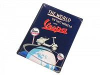 "Plaque publicitaire -RETRO- tôle ""The world on two wheels with Vespa"""