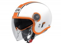 Helmet -NOLAN N21 Visor Duetto- open face helmet, white / orange - XXS (51-52cm)