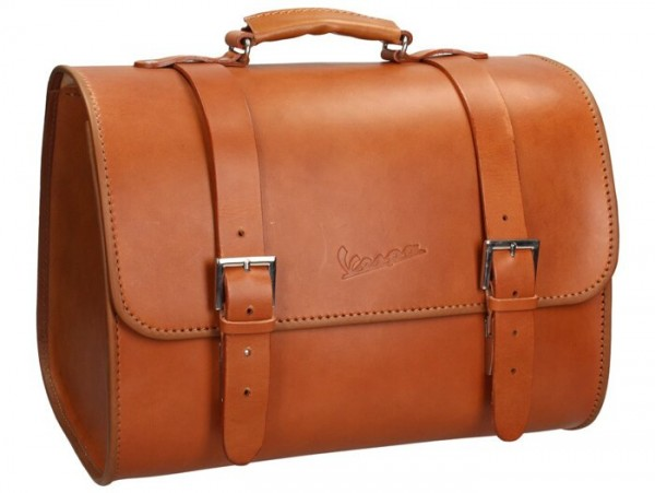 Leather top bag -PIAGGIO- brown - Vespa Primavera 50 (ZAPC53100, ZAPC53200), Vespa Primavera 125 (ZAPM81100), Vespa Primavera 150 (ZAPM81200), Vespa Sprint 50 (ZAPC53101, ZAPC53201), Vespa Sprint 125 (RP8M82111, ZAPM81300, ZAPM81301)