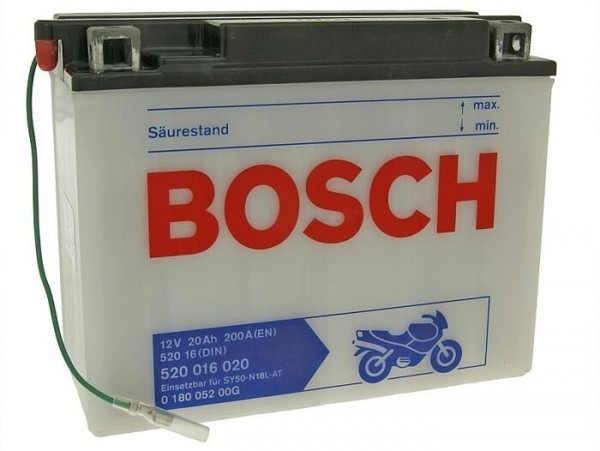 Battery -Standard BOSCH SY50-N18L-AT- 12V 20Ah -205x90x162mm (with acid)