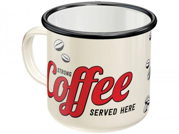 "Mug - Emaille -Nostalgic Art- ""Strong Coffee Served Here"", Ø=8cm x 8cm, 360ml"