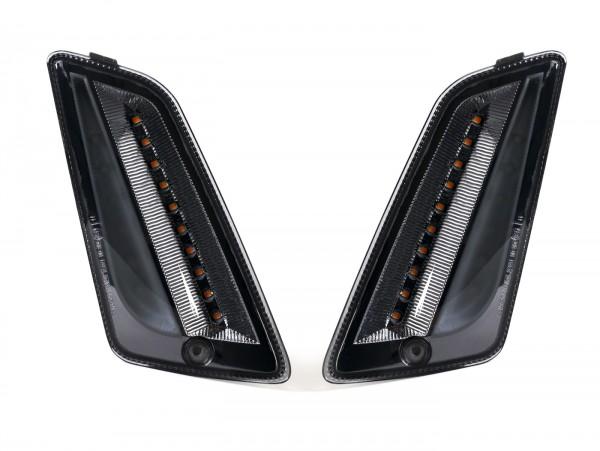 Blinker-Set vorne -MOTO NOSTRA (2014-) dynamisches LED Lauflicht, Tagfahrlicht (E-Prüfzeichen)- Vespa GT, GTL, GTV, GTS 125-300, HPE, Supertech (2019-) - smoked