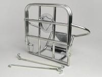 Portapacchi posteriore ribaltabile + supporto di ruota di scorta -AMS CUPPINI- Vespa 125-150 (-1966, modelli con ruote da 8 pollici) - cromato