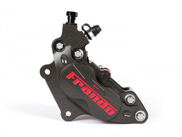 Pinza de freno delantero, izquierdo -FRANDO, de 4 pistones, Ø=30/34mm, (F101R)-  Vespa GT, GTL, GTS, GTS Super 125-300cc, Vespa Sprint 50-150cc, Vespa Primavera 50-150cc, Vespa 946 - titanio