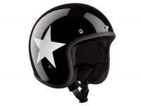 Helm -BANDIT ECE Star Jet- schwarz / weiss - XXL (63 cm)