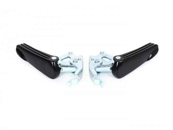 Pair of foot pegs -MOTO NOSTRA- Vespa GT, GTL, GTS 125-300, GTV - matt black/galvanized