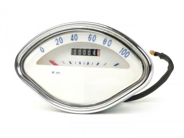 Cuentakilómetros -MADE IN INDIA Forma de concha- Vespa VBA, VBB, GL150 (VLA1T), GT125 (VNL2T), GTR125 (VNL2T), Sprint - azul, 100km/h - sin logo