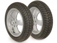 Komplettrad-Set Winterreifen -MICHELIN City Grip Winter M+S 120/70 - 12 TL 58P rf. + 130/70 - 12 TL 62P rf.- Vespa GT, GTL, GTS 125-300, GTV - Modelle ohne ABS - Felgen silber