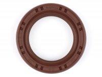 Oil seal (with dust lip) 24x35x7mm -BGM PRO brown FKM/Viton® (E10/etahnol resistant)- used for crankshaft Piaggio 125-180 cc 2-stroke (SKR, Runner, Dragster, TPH), fits also Vespa PX, ETS, T5, Cosa, LML Star 2T