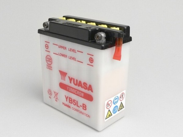 Battery -Standard YUASA YB5L-B/12N5-3B- 12V, 5Ah - 120x60x130mm (without acid) - Vespa P-range (-1984) - PX80, PX125, PX200, PK50 automatic, Typhoon 80