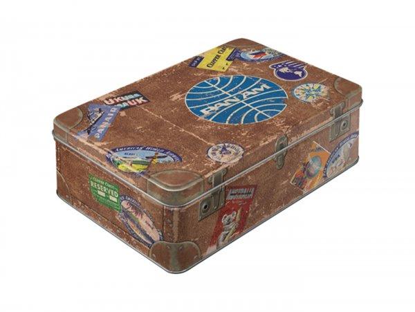 "Vorratsdose, flach -Nostalgic Art- ""Pan Am - Travel Stickers"" - 23x16x7cm (2.5l)"
