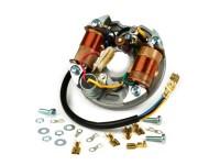 Zündung -VESPA Grundplatte (Kontaktzündung, 5 Kabel, 6V, 2 Spulen, kurze Kontakte)- Vespa V50 - 50 S, 50 SS, 50 SR - außenliegende Zündspule, mit Bremslicht/Fernlichtfunktion
