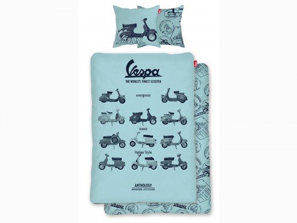 Biancheria da letto -Vespa The World's Finest Scooter- Dimensioni: 135x200cm / 80x80cm, blu, 100% cotone