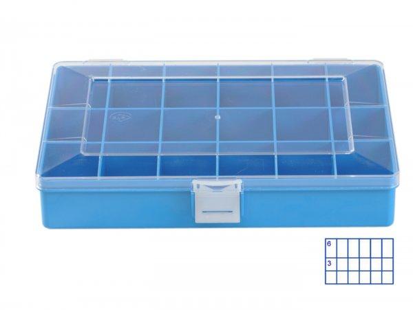 Sortierkasten -HÜNERSDORFF, Compact (170x250x46mm)- 18 Fächer, blau, Polystyol