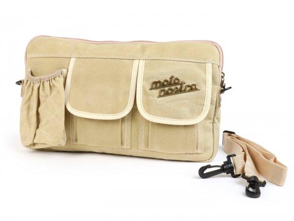 Tasche für Gepäckfachklappe / Umhängetasche (inkl. Getränkehalter) -MOTO NOSTRA Classic 'waxed canvas'- passend für z.B. Vespa, Lambretta, GTV, GTS, HPE, Supertech, Touring - beige