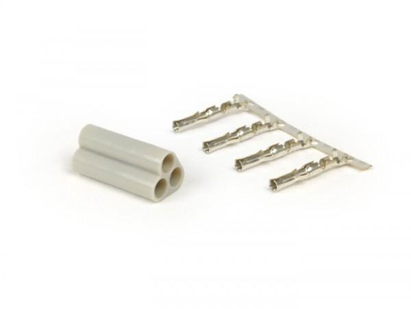 Plug for wiring harness -BGM PRO, 3 contact plugs- Vespa, Piaggio, Gilera - male plug