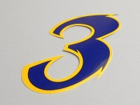 Sticker -NUMBER- 3 - blue/yellow