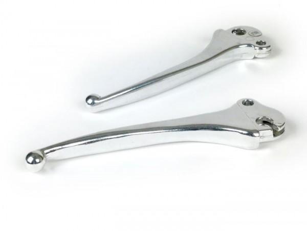 Par de manetas (freno y embrague) -FA ITALIA- Vespa 50 R (V5A1T -905288), 50 S (V5SA1T -74588), 50 Special (-146856), 50 Special Elestart (V5B2T-V5B4T), 90 Racer (V9SS2T), PV125 (VMA2T -172801), ET3 (VMB1T -24054) - (cola pequeño) - aluminio