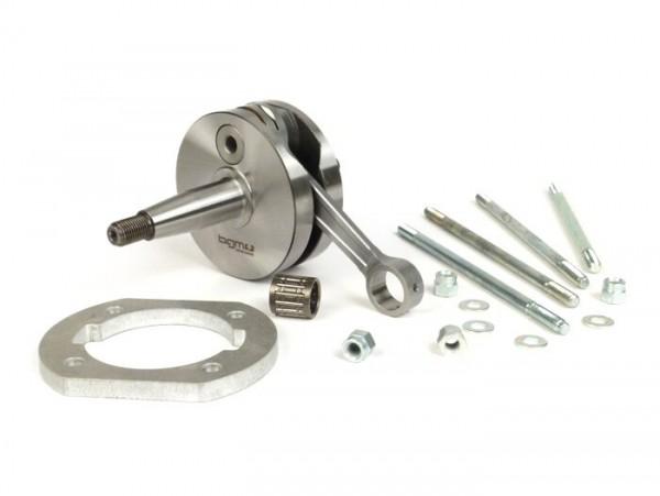 Crankshaft kit -BGM Pro Racing full circle web, 54mm stroke, 105mm conrod- conversion crankshaft Vespa PK50 XL/XL2 to 125cc (Ø=20mm cone)