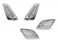Blinker-Set vorne+hinten -MOTO NOSTRA (2014-2018) dynamisches LED Lauflicht, Tagfahrlicht vorne + Positionslicht hinten (E-Prüfzeichen)- Vespa GT, GTL, GTV, GTS 125-300 - weiss