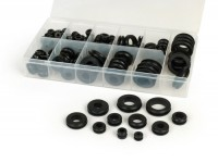 Rubber plug set -UNIVERSAL 128 pcs- black - Ø=6-24mm