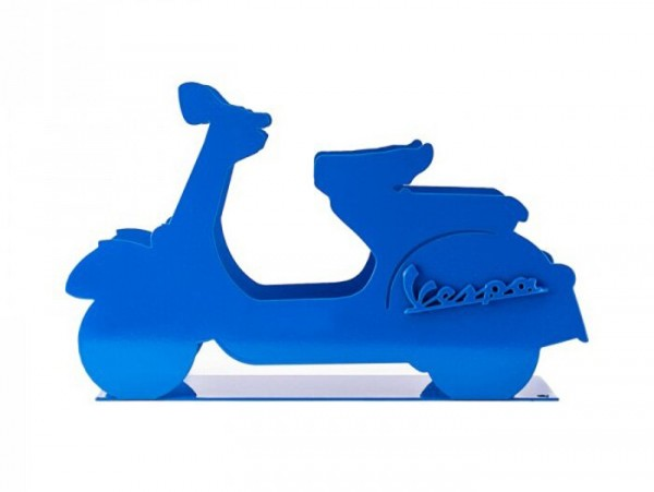 Mail holder -VESPA, metal- blue
