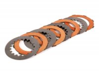Clutch friction plate set incl. steel plates -FERODO 'Race High Performance' Vespa Cosa2- suitable for standard clutch basket of Vespa Cosa2/FL (1992-), PX (1995-), Superstrong, Scooter & Service, MMW, Ultrastrong - 4 plates