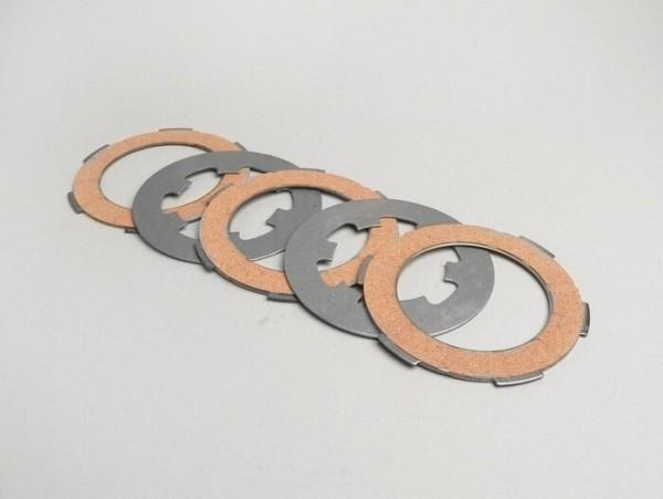 Juego discos de embrague -VESPA Smallframe V50, V90, SS50, SS90, PV125, ET3, PK50, PK80, PK50 S, PK80 S, PK125 S, PK50 XL, PK125 XL, ETS, PK50 HP, PK50 SS - 3 discos (separadores de embrague incl.)