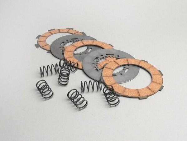 Juego discos de embrague -SURFLEX tipo 7 muelles (Vespa Rally200, PX200, T5 125cc)- 3 discos (muelles y separadores de embrague incl.)