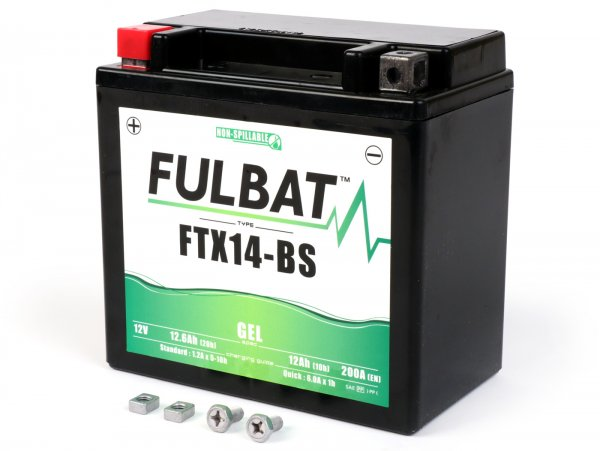 Battery -maintenance-free -FULBAT FTX14H-BS GEL- 12V, 12Ah - 152x88x147mm - Vespa GTS125 Super (ZAPM45300), GTS250 (ZAPM45100, ZAPM45101), GTS300 Super, Super Sport, Touring (ZAPM45200), GTV250 (ZAPM45102), GTV300 (ZAPM45201)