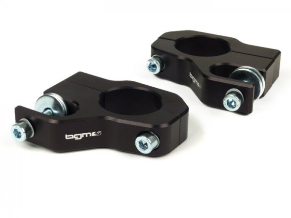 Stoßdämpferbefestigung oben -BGM PRO Clip on Aluminium CNC- Lambretta LI, LIS, SX, TV, DL, GP - schwarz