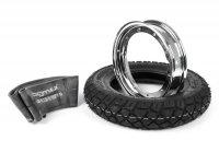Kit pneumatico e cerchio ruota -VESPA HEIDENAU K58- 3.50 - 10 pollici TL 59M (rinforzato) - cerchio 2.10-10 cromato