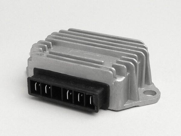 Regulador de tensión -5-clavijas 12V (A|A|G|B+|Terra)- Vespa PX (-1983), PX Elestart (-1997), ET4 125 ccm (ZAPM04000 -1999), Piaggio 50 ccm 2-tiempos (-1999), Sfera 125 ccm 4-tiempos (ZAPM01000)