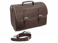 Leather case -PIAGGIO- brown - Vespa PX, GTS 125-300, Primavera - to mount on luggage carrier, mobile top case, genuine leather