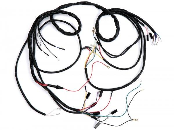 Mazo de cables -BGM ORIGINAL- Vespa PX (1982-1984, modelos alemanes), encendido electrónico 12V, con regulador, con batería, soporte bobinas completo de encendido con 7 cables
