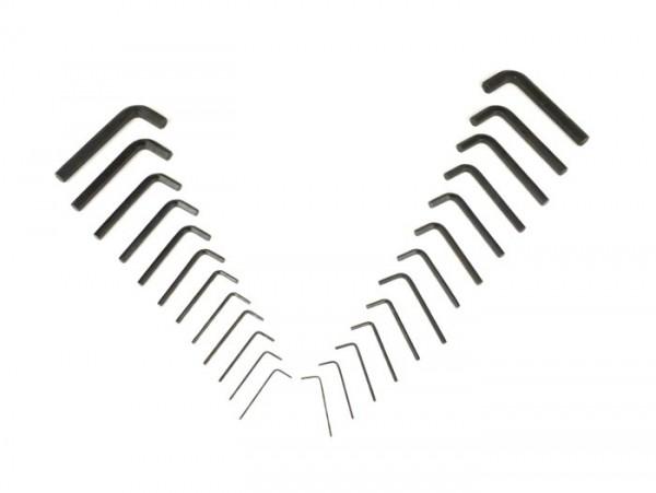 "Innensechskantschlüssel-Set (Innensechskantschlüssel) -ETT 25tlg.- 1.3mm, 1.5mm, 2.0mm, 2.5mm, 3.0mm, 3.5mm, 4.0mm, 5.0mm, 6.0mm, 7.0mm, 8.0mm, 10.0mm, 1/20"", 1/16"", 5/64"", 3/32"", 7/64"", 1/8"", 5/32"", 3/16"", 7/32"", 1/4"", 5/16"", 3/8"""