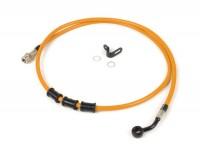 Brake hose, rear, to genuine brake caliper -SPIEGLER hose: stainless steel (orange), fitting: aluminium (black)- Vespa (with ABS) GTS 125i.e. Super ABS (ZAPM45300, ZAPM45301), Vespa GTS 300 ABS (ZAPM45200, ZAPM45202), Vespa GTS 300i.e. Super ABS (ZAP