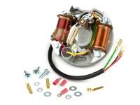 Zündung -VESPA Grundplatte (Kontaktzündung, 3 Kabel, 6V, 2 Spulen, kurze Kontakte)- Vespa V50 - 50 R, 50 Special (V5B1T, V5B3T) - außenliegende Zündspule, ohne Bremslichtfunktion