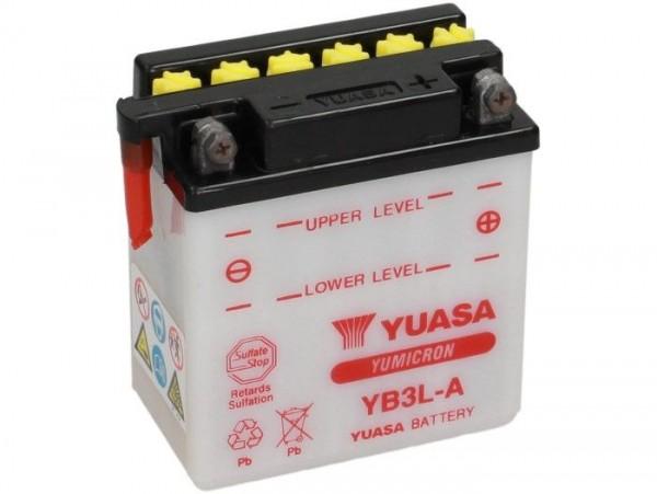 Batterie -Standard YUASA YB3L-A-12V, 3Ah - 99x56x110mm (ohne Säure)