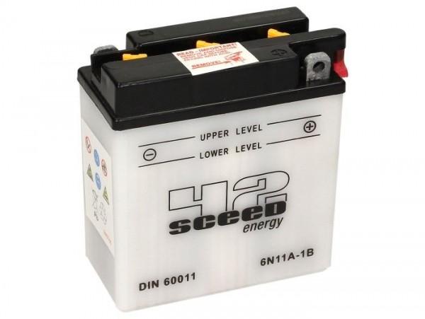 Batterie -Standard SCEED 42 Energy- 6N11A-1B - 6V, 11Ah - 122x62x132mm (ohne Säure)