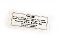 Sticker for air filter -LAMBRETTA- LI (3rd series), LIS, SX, TV (3rd series), DL, GP, J50, J100, J125 - Italian